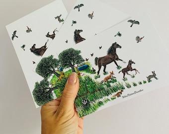 Map postcard of the wood palomino Unicorn horse
