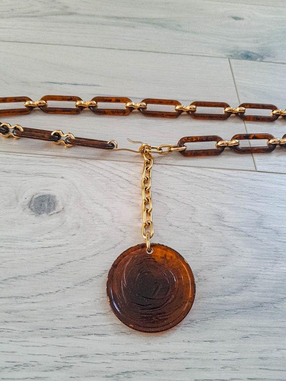 60s Rose medallion tortoise shell link chain belt