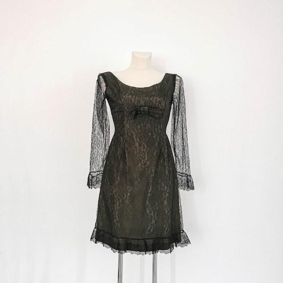 1950s black lace cocktail dress | Maxane Paris | S