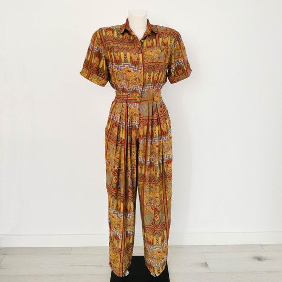 1980s indian print safari rayon jumpsuit | Mosaic