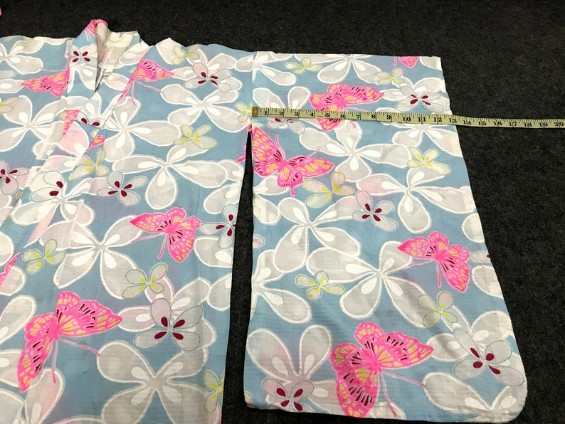 Vintage Kimono Japanese Traditional Noragi Haori Hanten Jinbei Cardigan Happi Jacket Floral Art H794 WhiteLight Blue