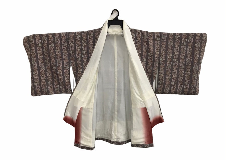 Vintage Kimono Japanese Traditional Noragi Haori Hanten Jinbei Cardigan Happi Jacket Striped Floral Art L275 Brown
