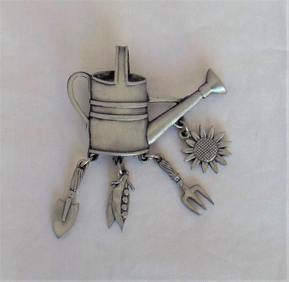 Vintage JJ Pin Brooch Pewter Toned Watering Can With Trowel Sunflower Fork And Pea Pod Dangles Used