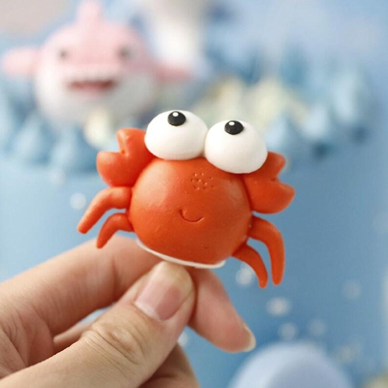 Cartoon Sea Animal Crab Cake Topper Birthday Cake Decor Mermaid Party Decor Mermaid Supplies Under the Sea Baby Showr Cake Decor
