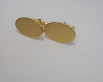 Ideal For Engraving By Onyx Art Plain Oval Gold Cufflinks /& Gift Box