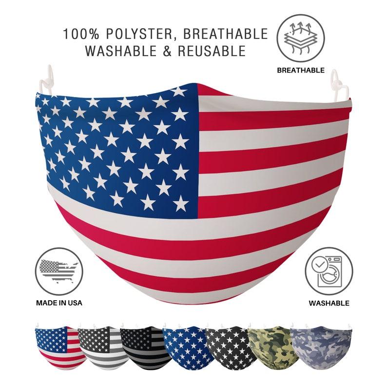 Patriotic USA Flag Mask Camouflage Face Mask One Size image 0