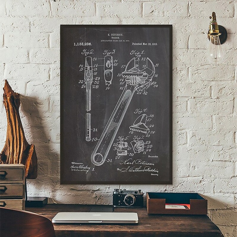 No Frame Blueprint Wrench Abstract Canvas Painting Art Print Poster Picture Decoration Modern Home Decoration