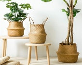 Handmade Bamboo Storage Baskets - Foldable Laundry Straw Patchwork Wicker - Rattan Seagrass Belly Garden Flower Pot - Planter Basket