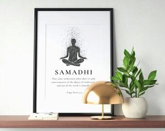 Samadhi Meaning Wall Art - Monotone [Printable Wall Art   Gift Insert   8 Limbs of Yoga]