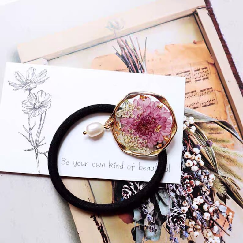 mother/'s day spring garden seaside bday Handmade hair ties beautiful flower with pearl wedding summer