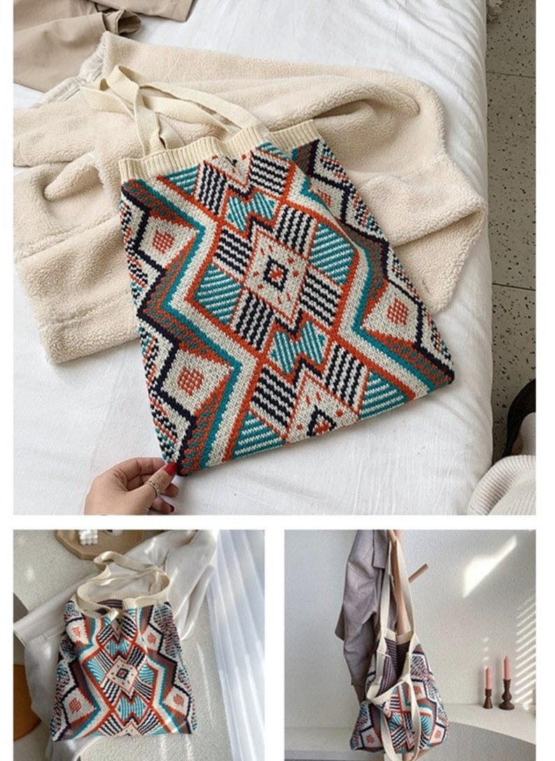 Women Knitting Bohemian Boho Tote Bag  Women Crochet Casual HandBag
