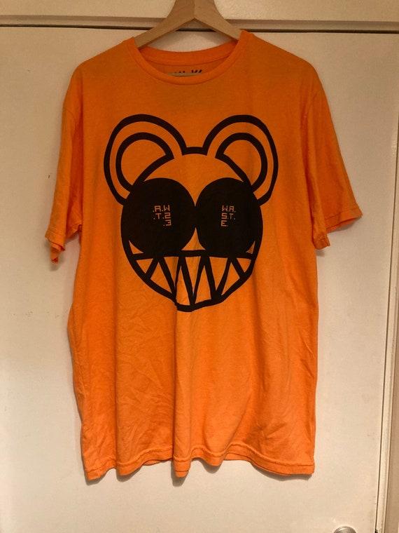 Rare Radiohead w.a.s.t.e. Orange bear logo t shirt