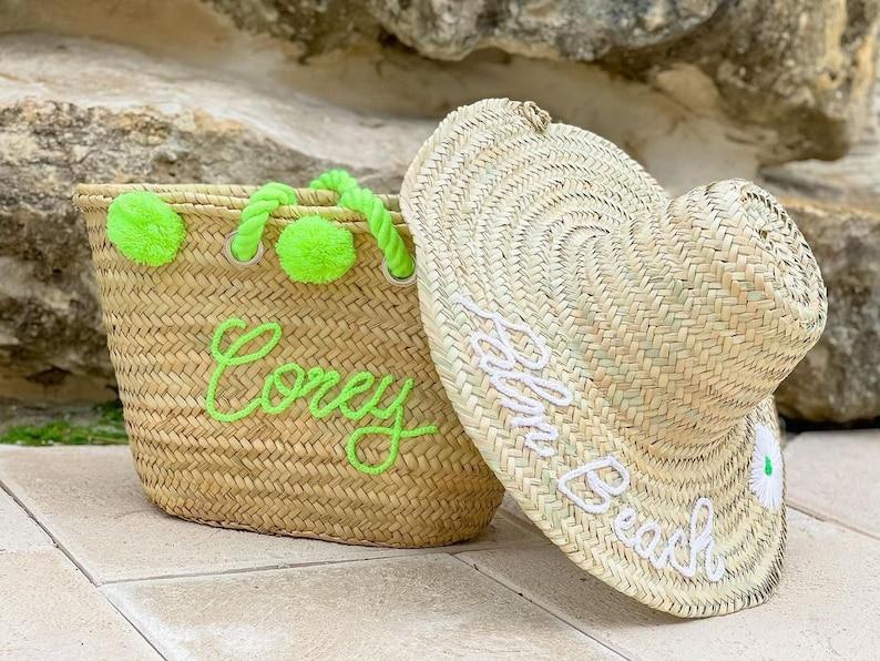Personalized Beach Bag Pom Pom Beach Basket Customized Straw Bag