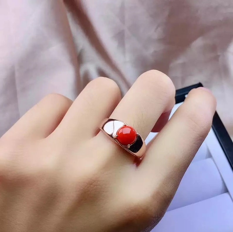 FINE 925 sterling silver Natural red coral rings Jewelry women trendy open party plant gift 6*6