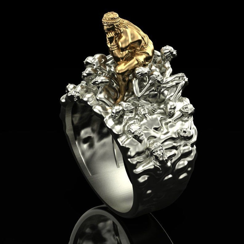 promise ring 14k yellow /& white gold over lord ring women fashion ring gift antique ring gift for her