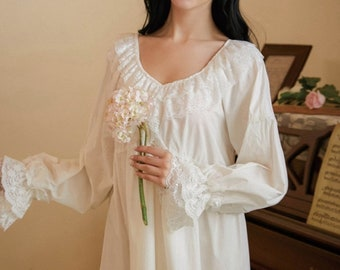 Long-Sleeve Cotton Nightgown, Vintage Nightdress, Edwardian Nightgown, Victorian Nightgown, Lace Nightgown for Women