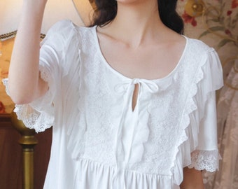 Cotton Ladies Vintage Nightgown, Victorian Nightgown, Vintage Nightdress, Chemise de Nuit, Short Sleeeves Cotton Nightgown, Ladies Nightie