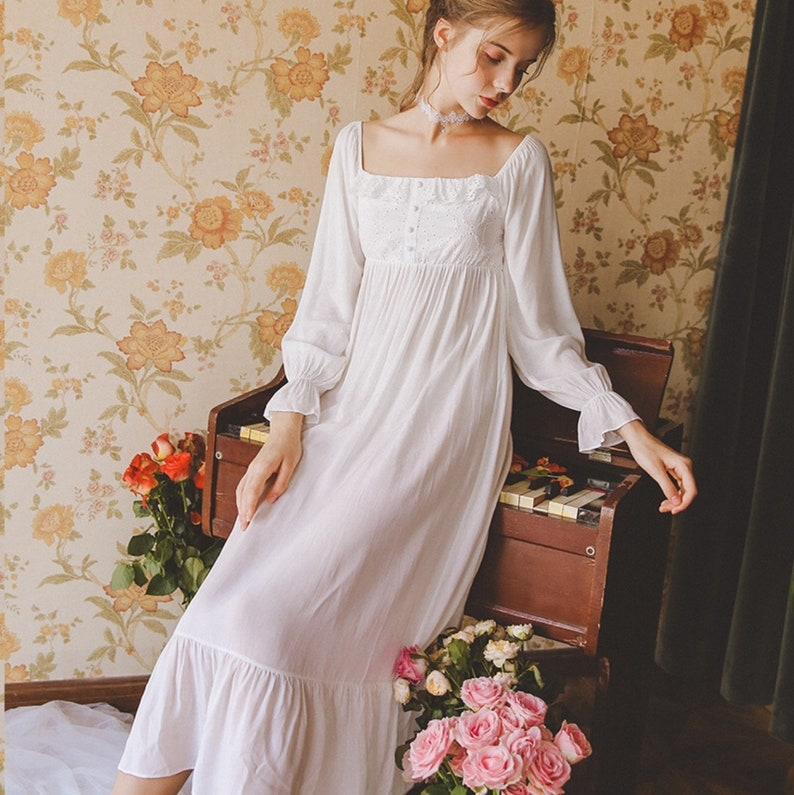 Loungewear Summer Nightdress Long-Sleeve Vintage Cotton Nightgown Bridal Nightgown Cotton Nightgown Sleepwear