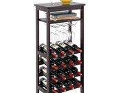 Wooden Wine Rack with Glass Holder Rack 6 Tier Free Standing Wine Storage Rack Display Shelves 16 Bottles Capacity Storage Standing Table