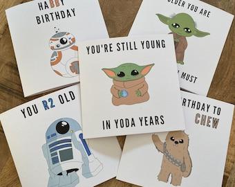 Star Wars Birthday Cards // Star Wars Puns - Handmade - Blank Inside - Birthday Cards - Baby Yoda - Chewbacca - Yoda - BB8 - R2D2
