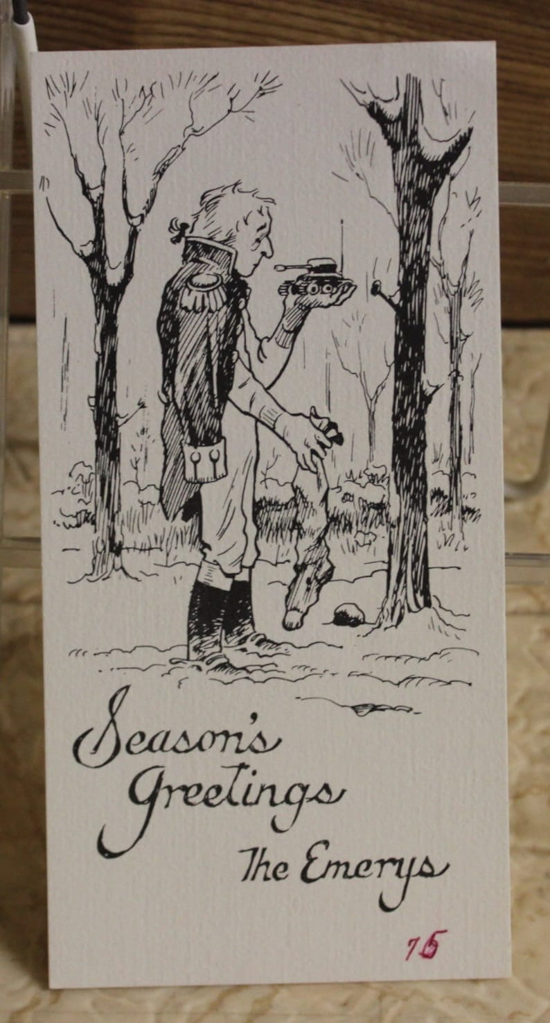Don Emery Holiday Card Print Soldier with Toy Tank in Snow