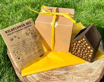 Bee Hotel Gift Set   Bee House with Seeds Gift Box   Garden Bee Gift Package   Garden Ornament