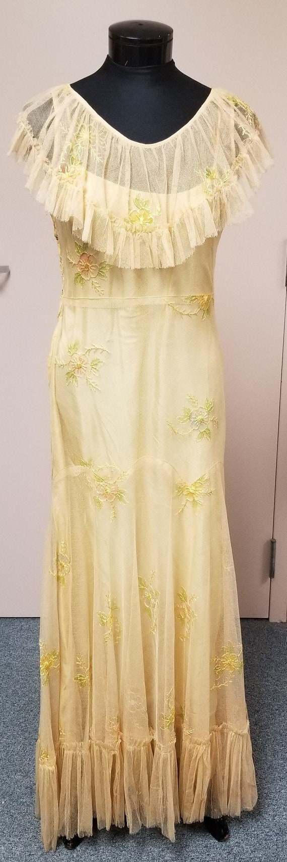 Antique 1930's Floral Embroidered Net Slip Dress