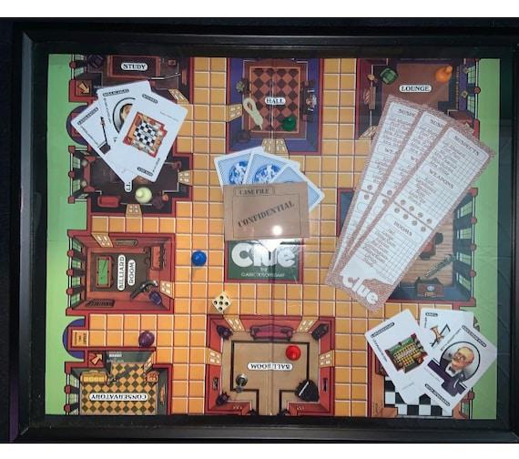 1986 Vintage Clue Game Board Art Man Cave Basement Game Room Etsy