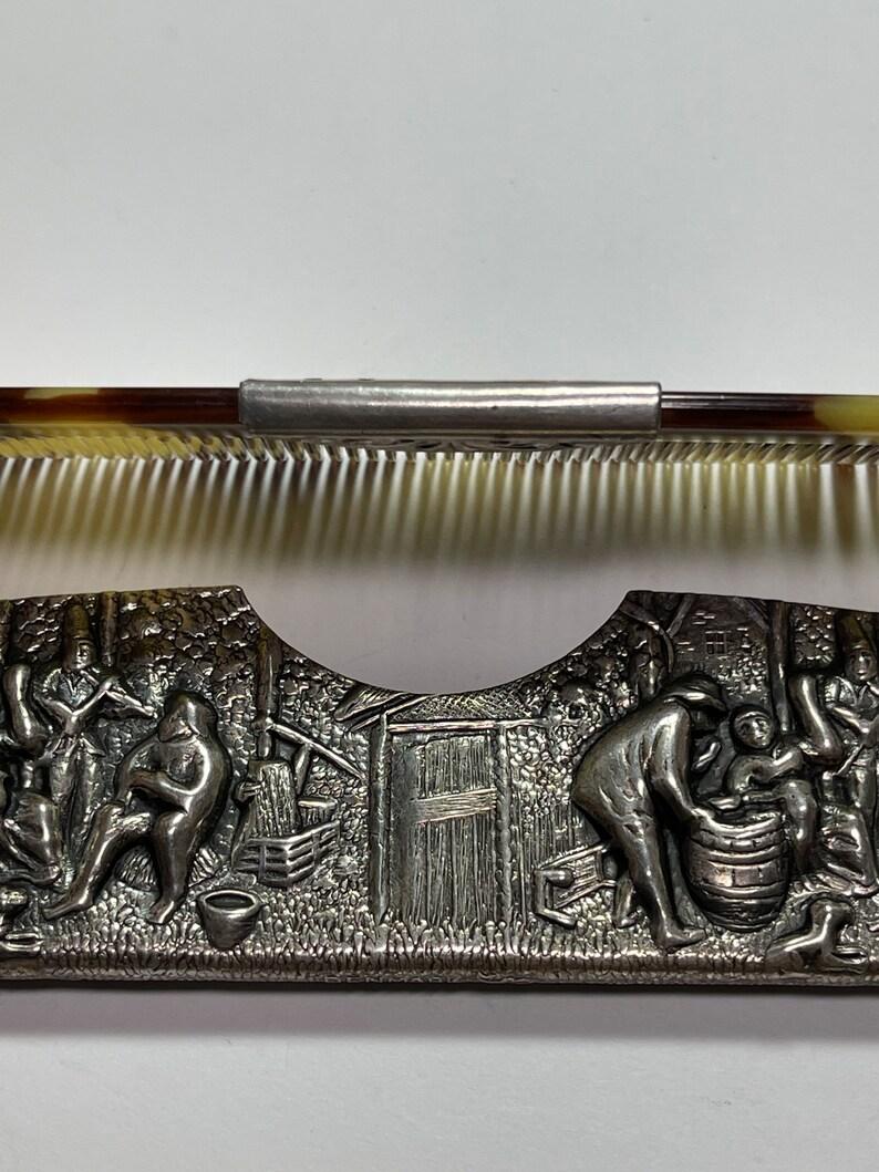 Hans Jensen Tavern Scene Antique Comb Silver Plate
