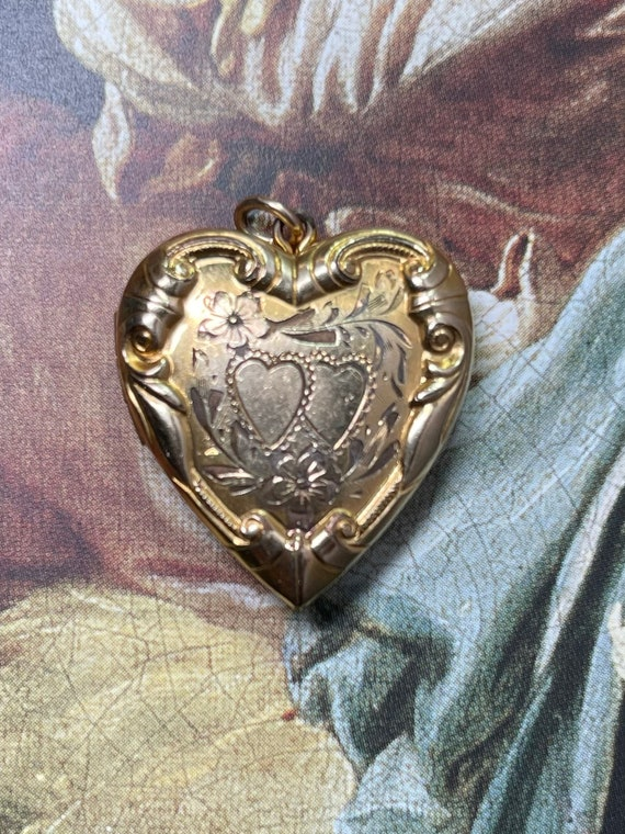 Ornate Victorian GF Heart Locket Charm