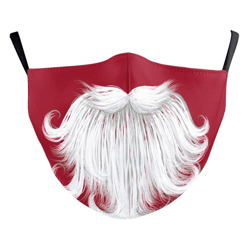 Christmas face Mask for XMAS Washable Face covering New Year WhiteBeard on RED