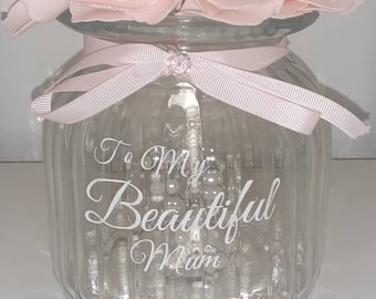 To my beautiful mum pink artificial rose feature