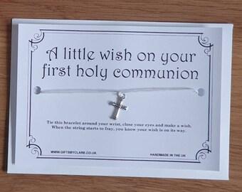 First Holy Communion Wish Card & Bracelet