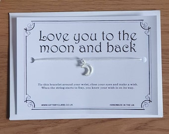 Love You To The Moon And Back Wish Card & Bracelet