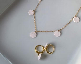 Dainty 14k Gold Set · Polymer Clay · Everyday Necklace + Earring Set · Minimalist Jewelry · Delicate Modern Necklace · Star Vista
