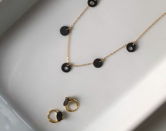 Dainty 14k Gold Set · Polymer Clay · Everyday Necklace + Earring Set · Minimalist Jewelry · Delicate Modern Necklace · Onyx Cholla