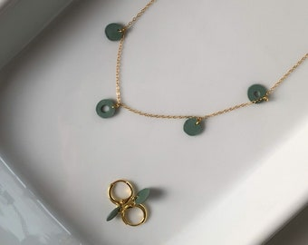 Dainty 14k Gold Set · Polymer Clay · Everyday Necklace + Earring Set · Minimalist Jewelry · Delicate Modern Necklace · Sage Cholla