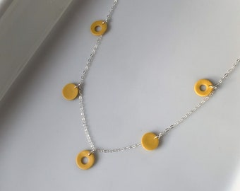 Dainty 925 Sterling Silver · Polymer Clay · Everyday Necklace · Minimalist Jewelry · Delicate Modern Necklace · Mustard Cholla