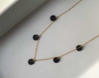 Dainty 14k Gold · Polymer Clay · Everyday Necklace · Minimalist Jewelry · Delicate Modern Necklace · Onyx Vista