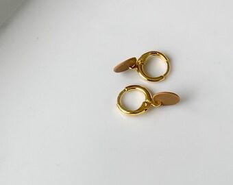 Dainty Gold Plated Lever Back Earrings • 14k Gold Drop Earrings • Everyday Earrings • Minimalist Jewelry • Budl Signature Sun