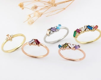 14k Rose gold filled Birthstone Grab 4 Classic 14k Rose Gold Filled Birthstone Ring Gold solitaire Mothers Ring band solitaire ring