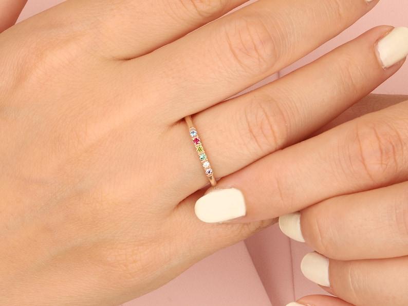 Family Birthstone Ring Gemstone Ring Personalized Birthstone image 0