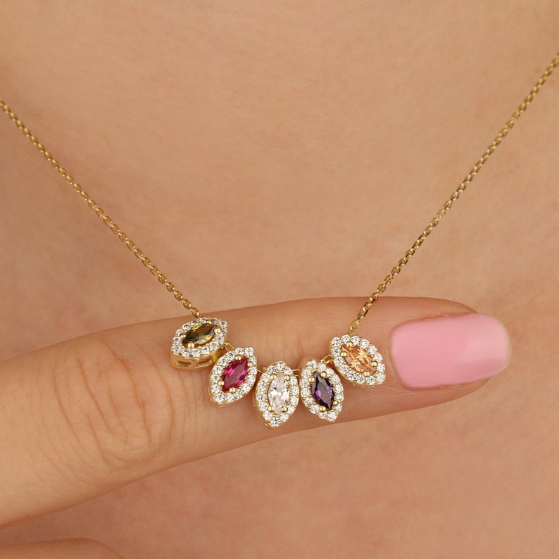 14K Family Birthstone Necklace Personalized Gift 14K image 0