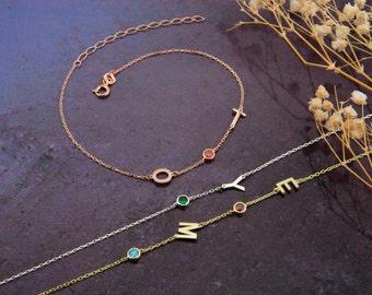 14K Solid Gold Sideways Initial Birthstone Bracelet, 925 Silver Birthstone Letter Bracelets, Gift For Mothers, Christmas Gifts, Black Friday