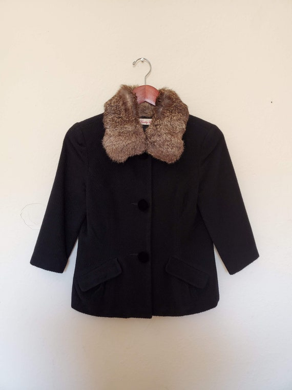 Dorothy Lee Rabbit Fur Collar Wool/Angora Jacket