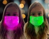 Kids Light Up Face Mask // Kids Party //Ages 3 - 14 // LED Color Changing Steady On or Flashing Mask // Rechargeable
