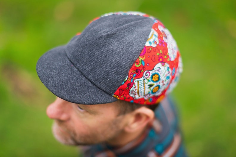 Day of the Dead Red/Faded Black Denim Cycling Cap image 0