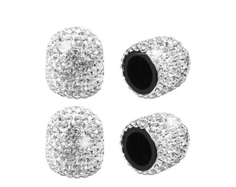 Aanrasey Tire Valve Stem Caps White 4 Pack Handmade Crystal Rhinestone Universal Valve Stem Cap White Attractive Dustproof Bling Out Car Accessories Woman Car Accessories Decorations