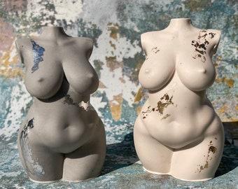 plus size goddess figurine   curvy sculpture   female bust   concrete   custom made colour  home decor   feminine   body   woman
