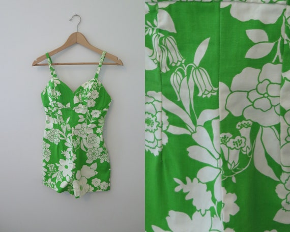 1960s Vintage Green & White floral Swimsuit beach